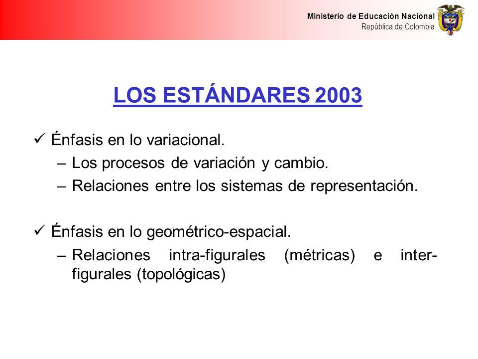 LOS ESTÁNDARES 2003 Énfasis en lo variacional.