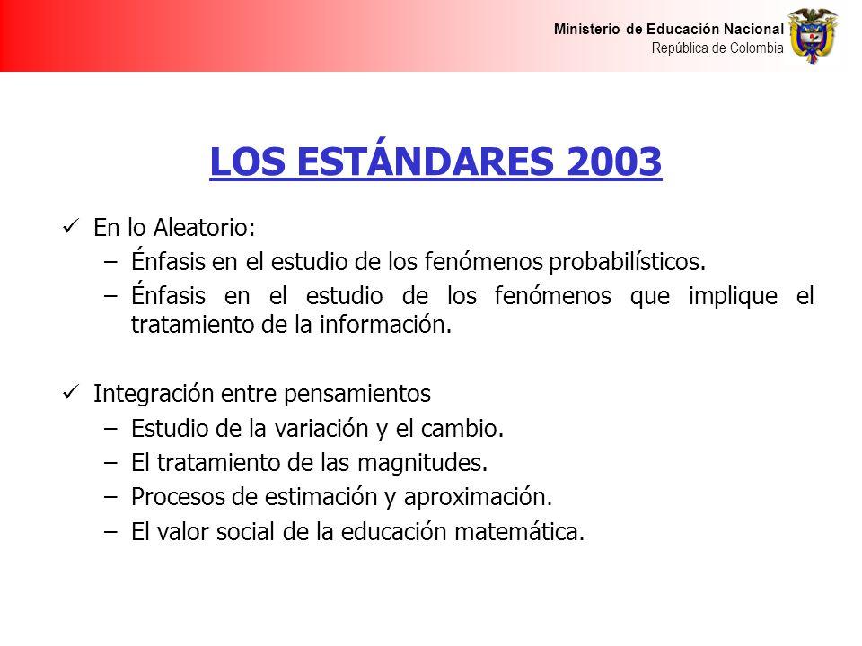LOS ESTÁNDARES 2003 En lo Aleatorio: