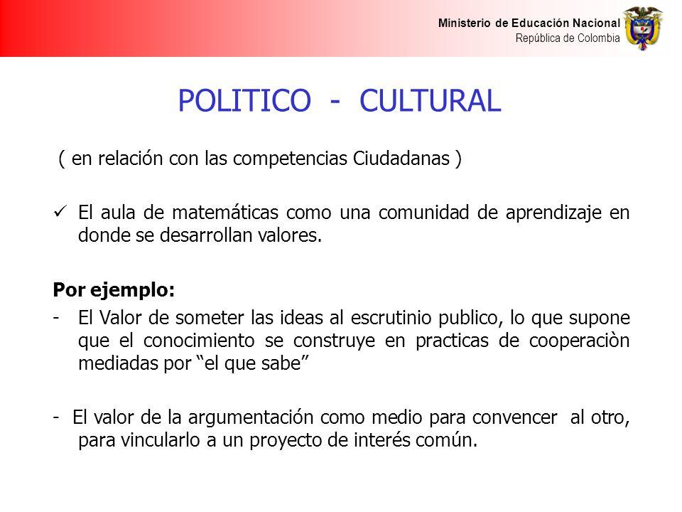 POLITICO - CULTURAL ( en relación con las competencias Ciudadanas )
