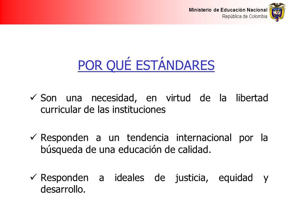 POR QUÉ ESTÁNDARES Son una necesidad, en virtud de la libertad curricular de las instituciones.