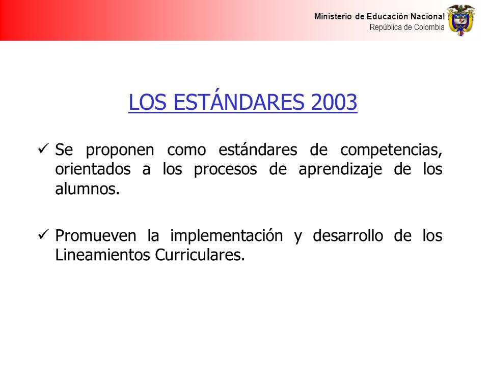 LOS ESTÁNDARES 2003 Se proponen como estándares de competencias, orientados a los procesos de aprendizaje de los alumnos.