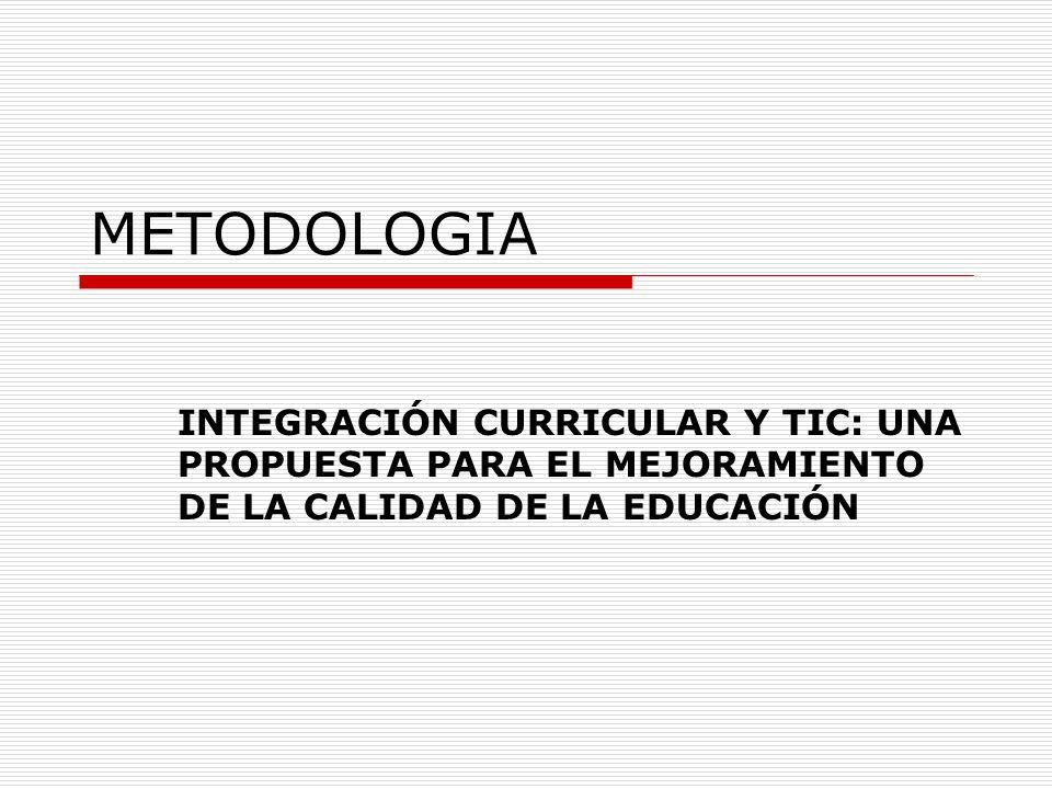 METODOLOGIA INTEGRACIÓN CURRICULAR Y TIC: UNA PROPUESTA PARA EL MEJORAMIENTO DE LA CALIDAD DE LA EDUCACIÓN.