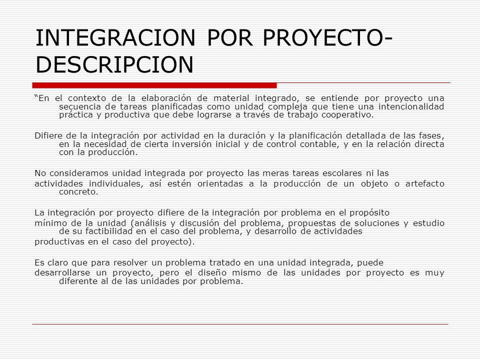 INTEGRACION POR PROYECTO- DESCRIPCION