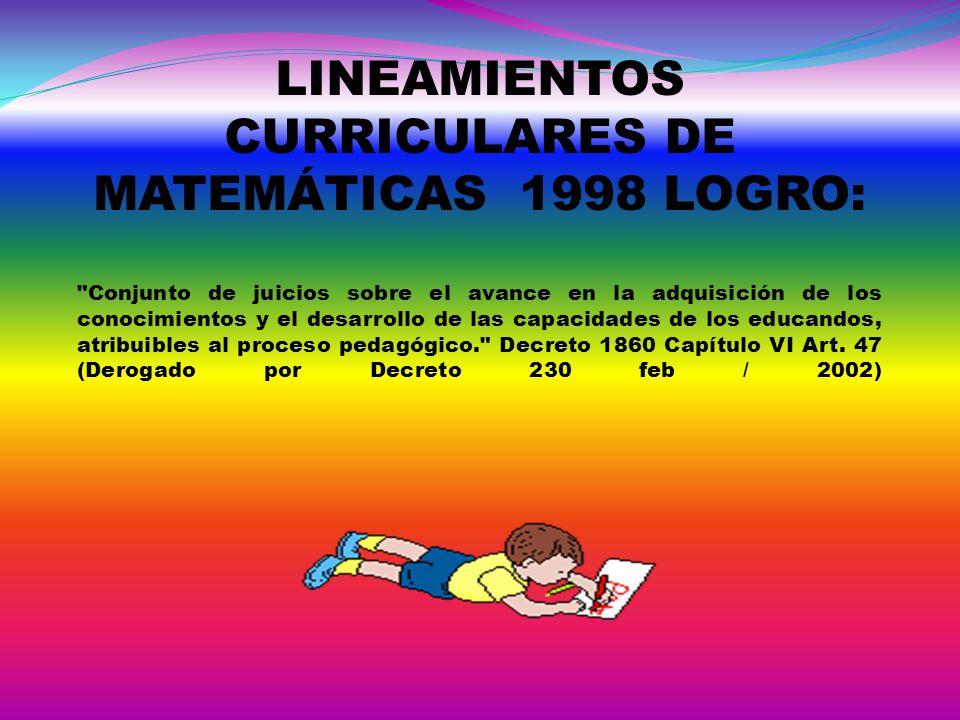 LINEAMIENTOS CURRICULARES DE MATEMÁTICAS 1998 LOGRO: