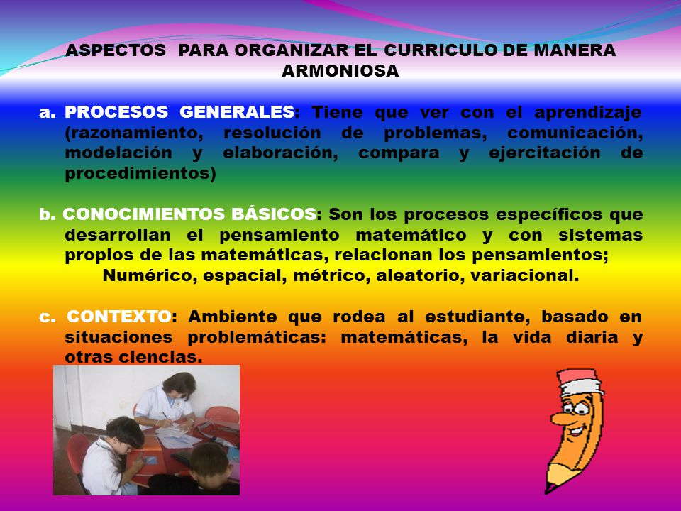 ASPECTOS PARA ORGANIZAR EL CURRICULO DE MANERA ARMONIOSA