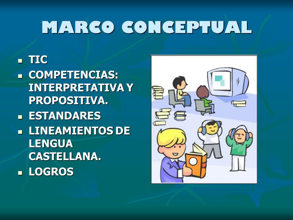 MARCO CONCEPTUAL TIC COMPETENCIAS: INTERPRETATIVA Y PROPOSITIVA.