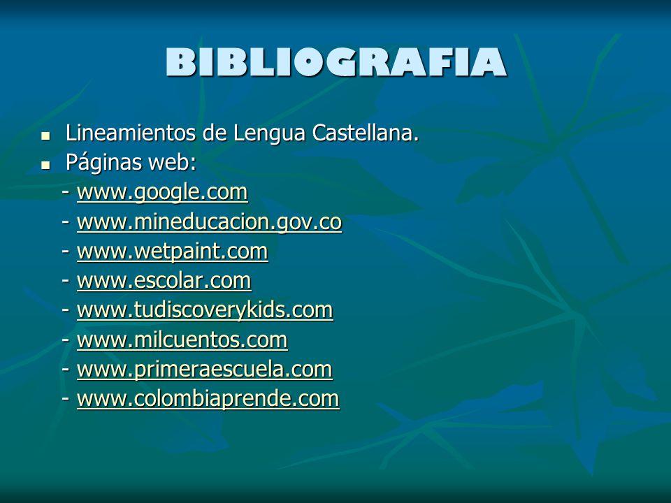 BIBLIOGRAFIA Lineamientos de Lengua Castellana. Páginas web: