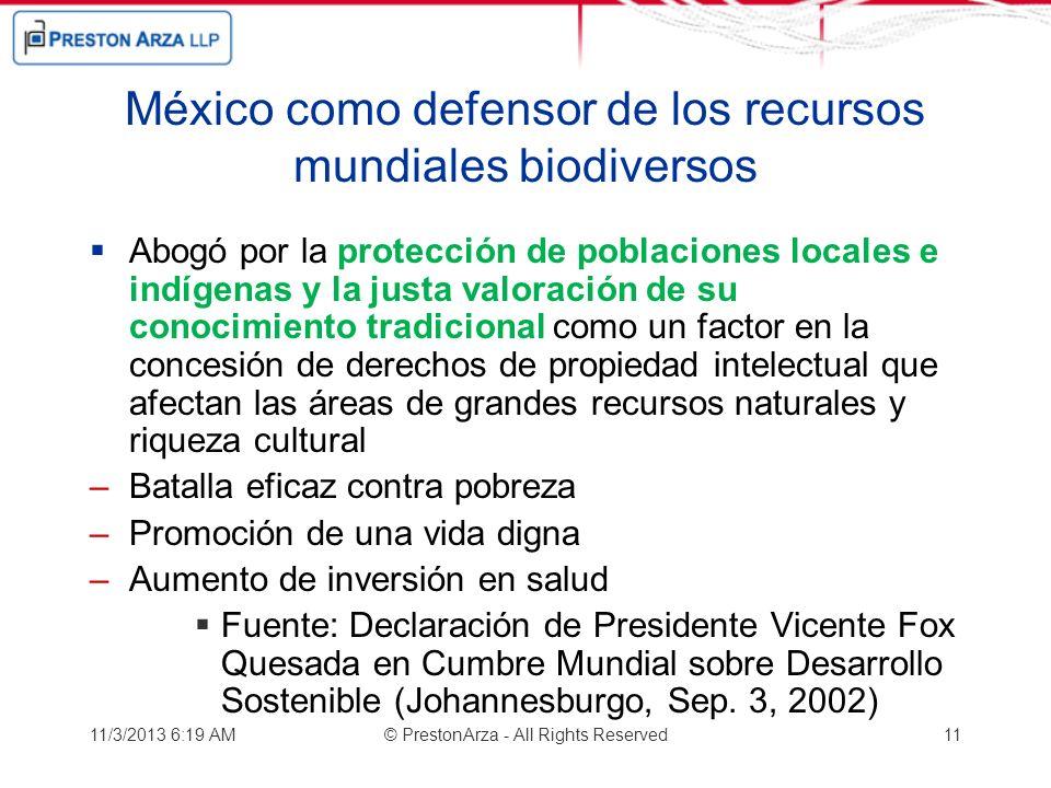 México como defensor de los recursos mundiales biodiversos