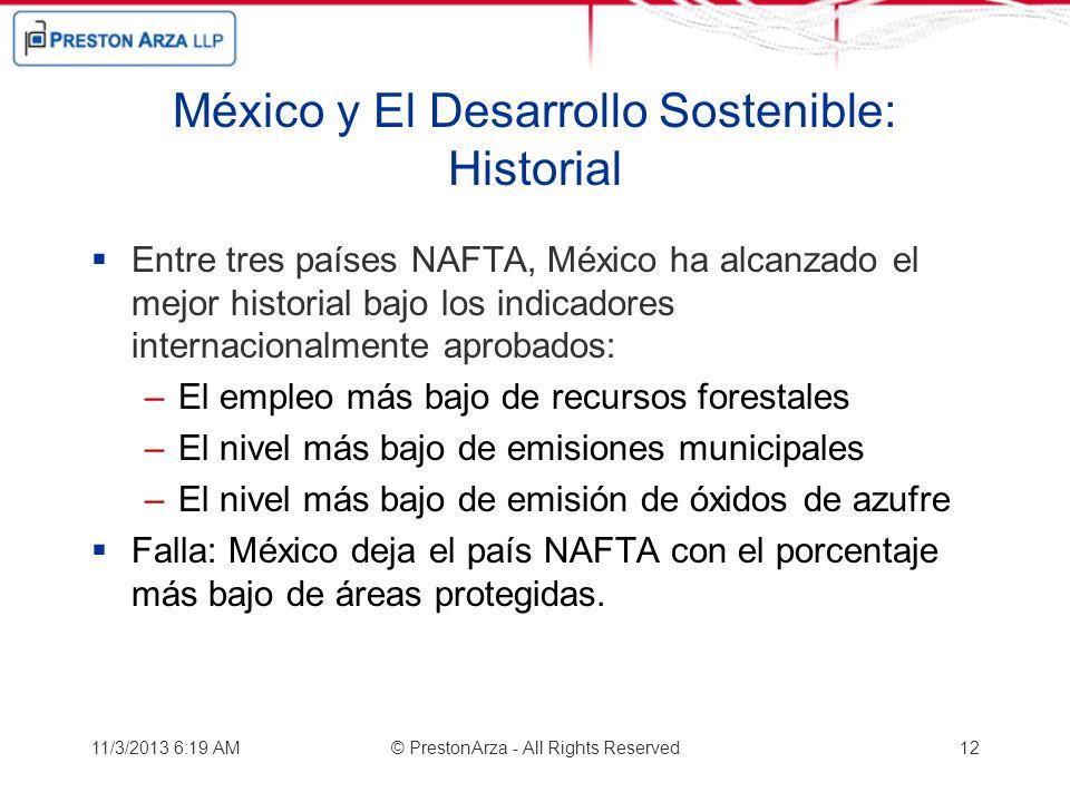 México y El Desarrollo Sostenible: Historial