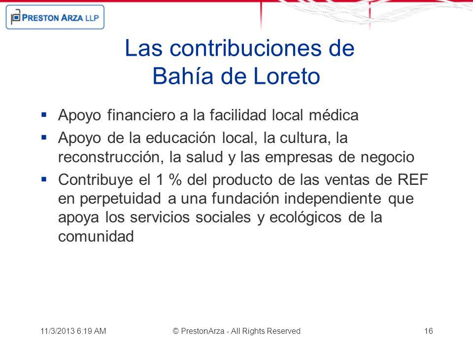 Las contribuciones de Bahía de Loreto