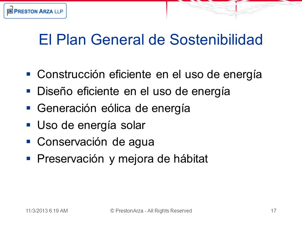 El Plan General de Sostenibilidad