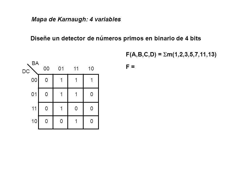 Diseñe un detector de números primos en binario de 4 bits