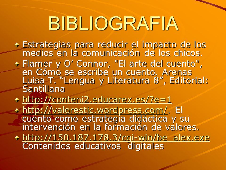 BIBLIOGRAFIA Estrategias para reducir el impacto de los medios en la comunicación de los chicos.