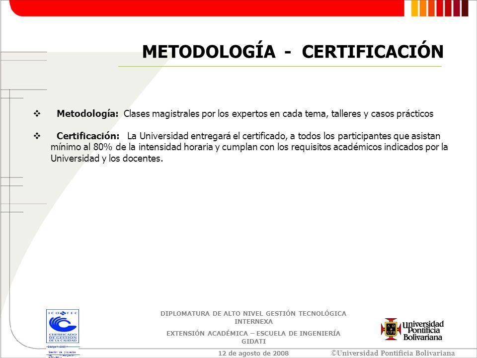 METODOLOGÍA - CERTIFICACIÓN