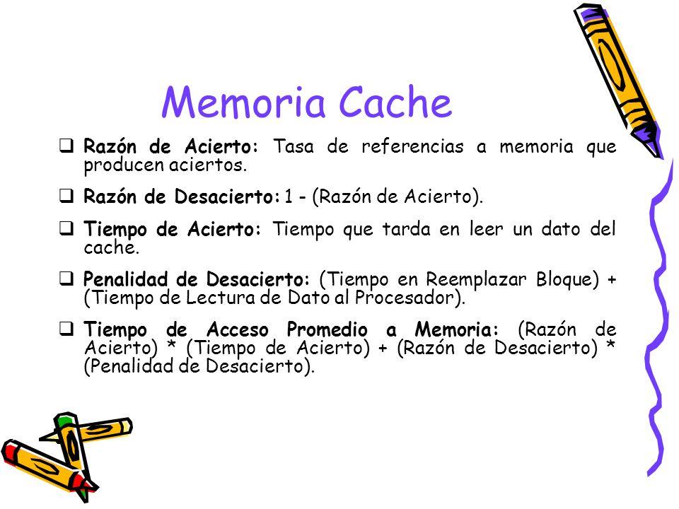 Memoria Cache Razón de Acierto: Tasa de referencias a memoria que producen aciertos. Razón de Desacierto: 1 - (Razón de Acierto).