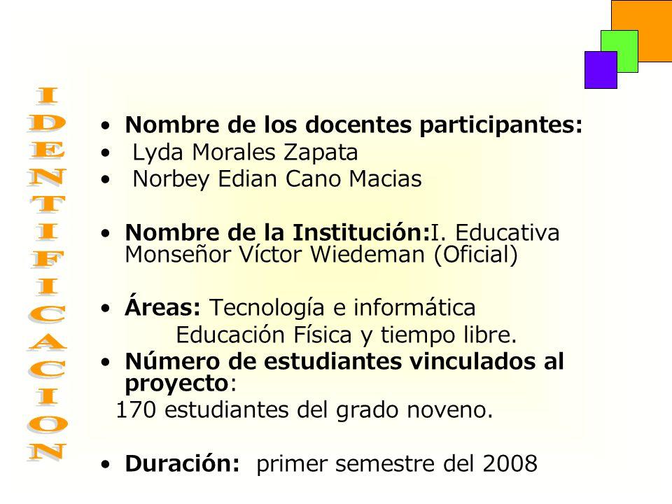 IDENTIFICACION Nombre de los docentes participantes: