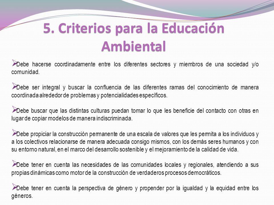 5. Criterios para la Educación Ambiental