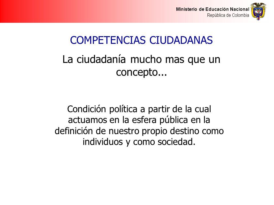 COMPETENCIAS CIUDADANAS La ciudadanía mucho mas que un concepto...