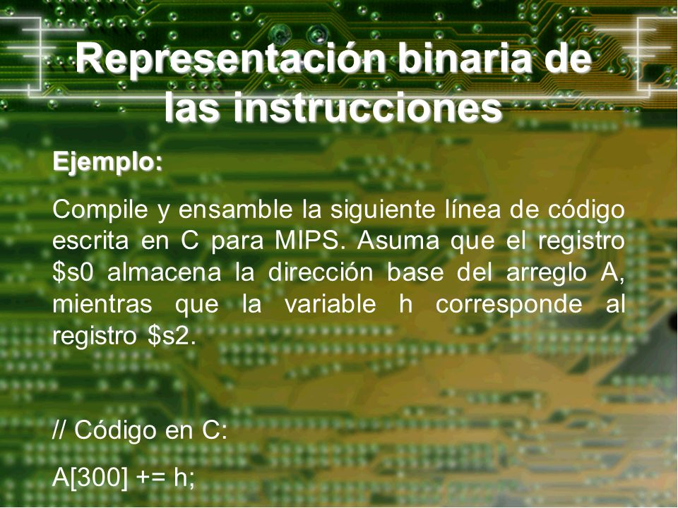 Representación binaria de las instrucciones