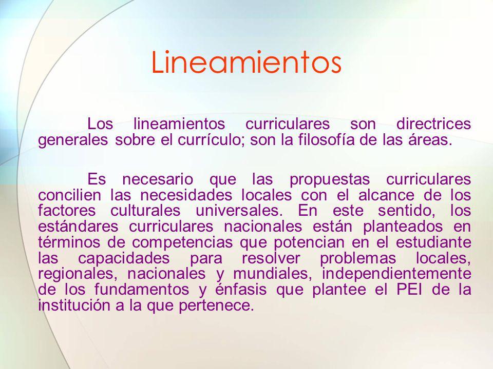 Lineamientos Los lineamientos curriculares son directrices generales sobre el currículo; son la filosofía de las áreas.