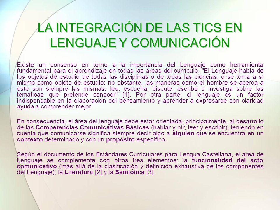 LA INTEGRACIÓN DE LAS TICS EN LENGUAJE Y COMUNICACIÓN