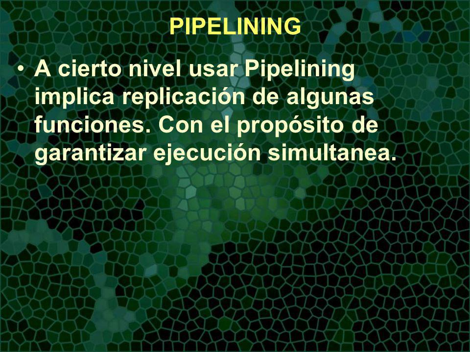 PIPELINING A cierto nivel usar Pipelining implica replicación de algunas funciones.