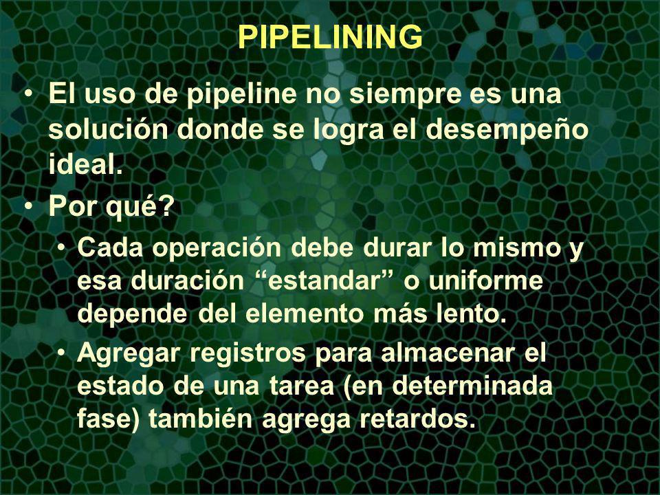 PIPELINING El uso de pipeline no siempre es una solución donde se logra el desempeño ideal. Por qué