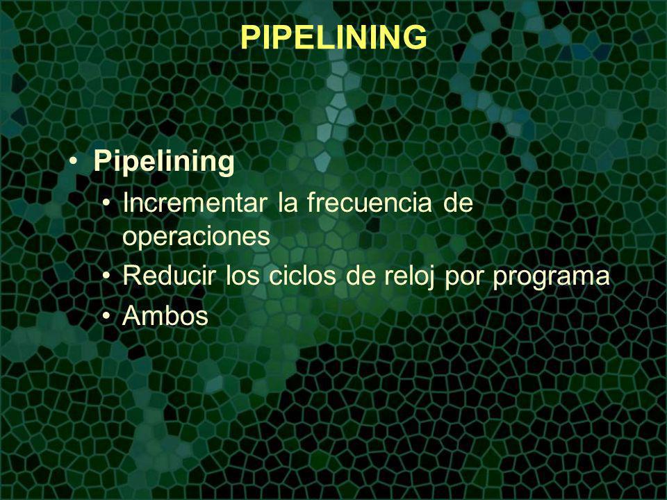 PIPELINING Pipelining Incrementar la frecuencia de operaciones