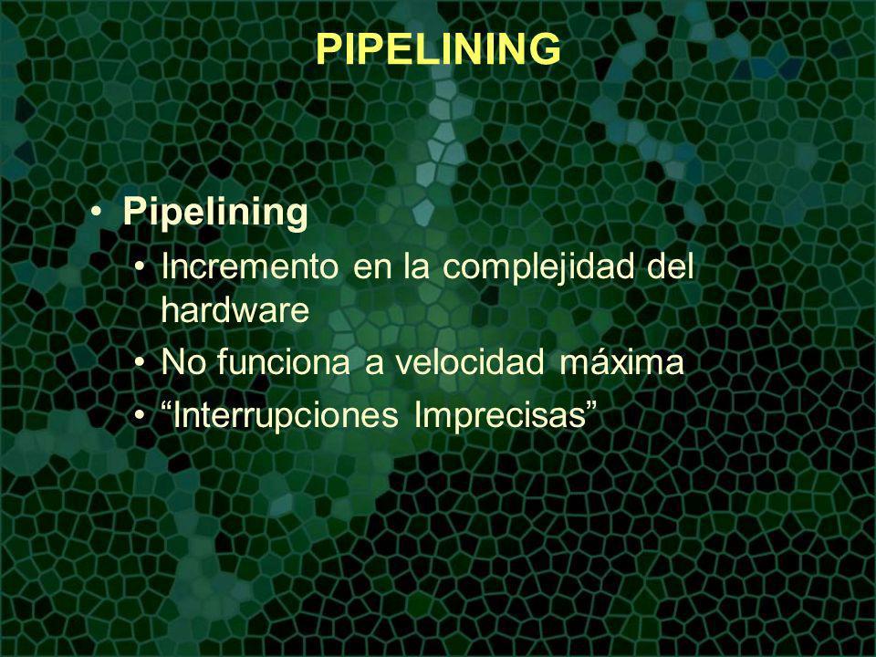 PIPELINING Pipelining Incremento en la complejidad del hardware