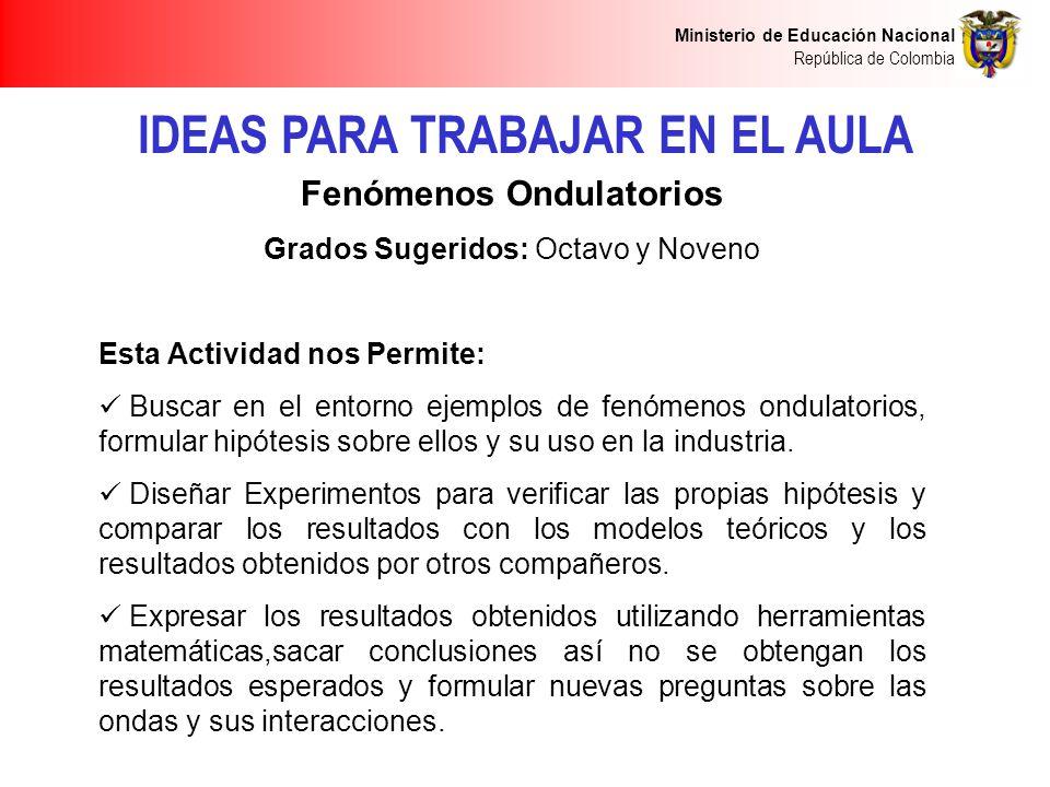 IDEAS PARA TRABAJAR EN EL AULA Fenómenos Ondulatorios