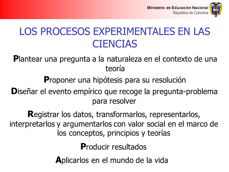 LOS PROCESOS EXPERIMENTALES EN LAS CIENCIAS