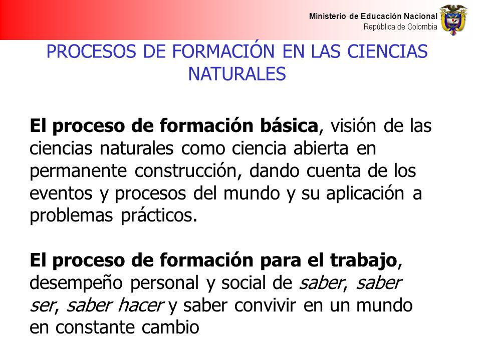 PROCESOS DE FORMACIÓN EN LAS CIENCIAS NATURALES