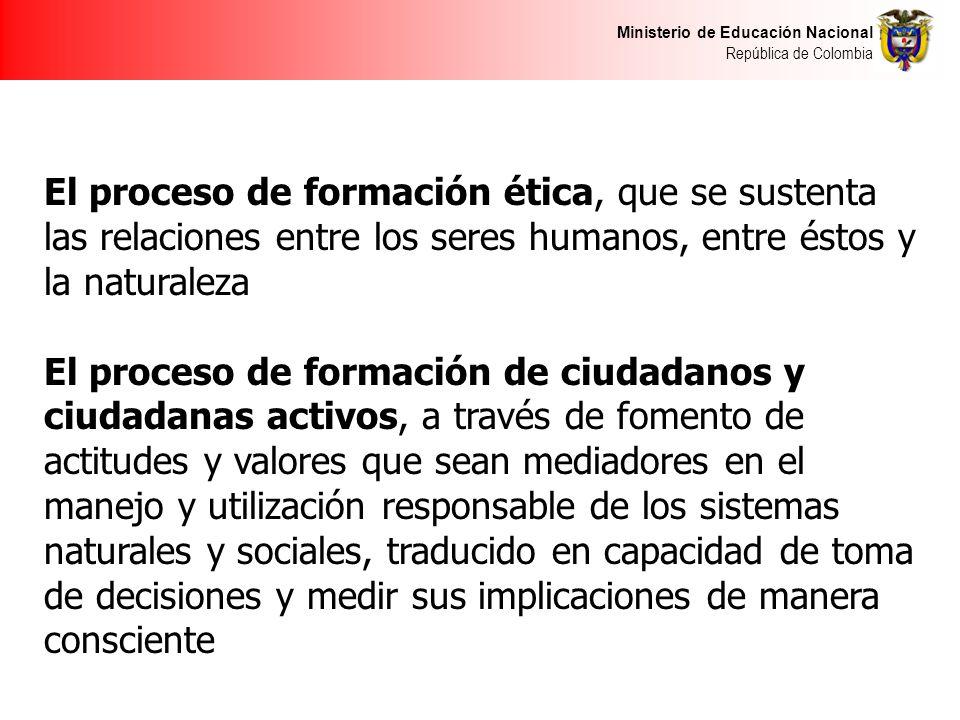 El proceso de formación ética, que se sustenta las relaciones entre los seres humanos, entre éstos y la naturaleza