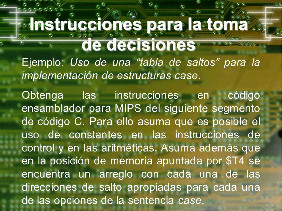 Instrucciones para la toma de decisiones