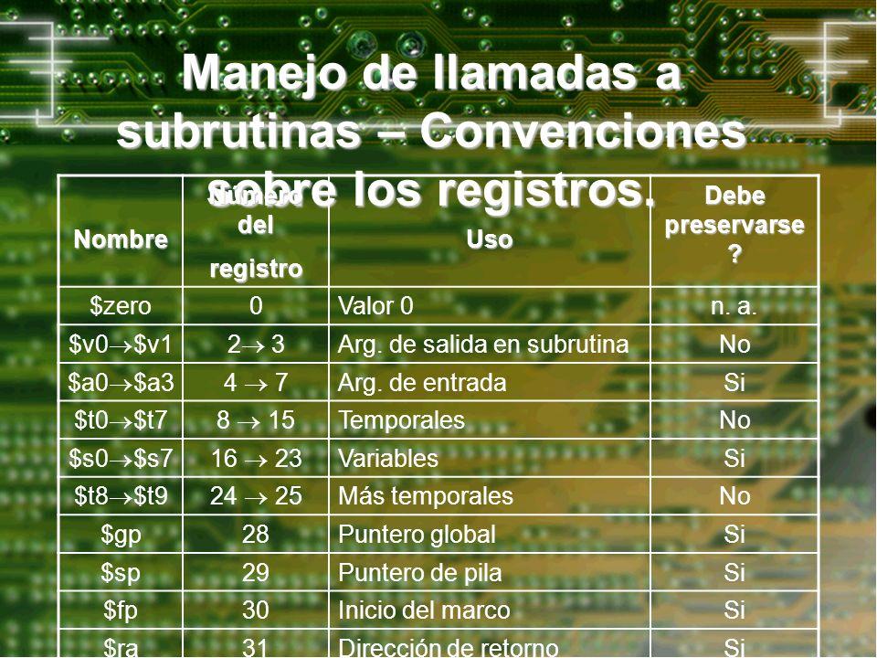 Manejo de llamadas a subrutinas – Convenciones sobre los registros.