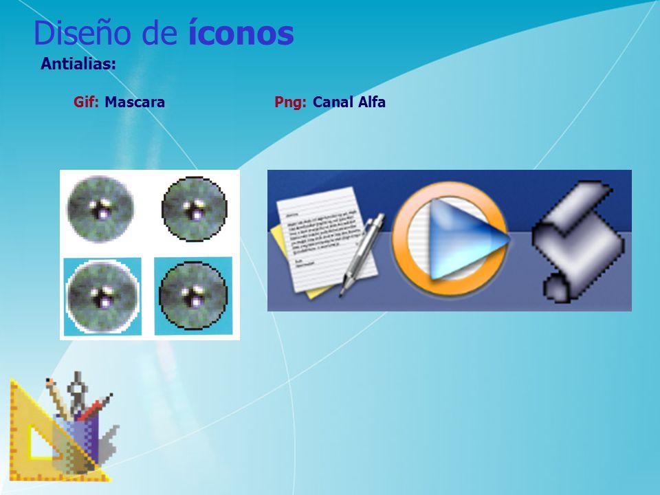 Diseño de íconos Antialias: Gif: Mascara Png: Canal Alfa