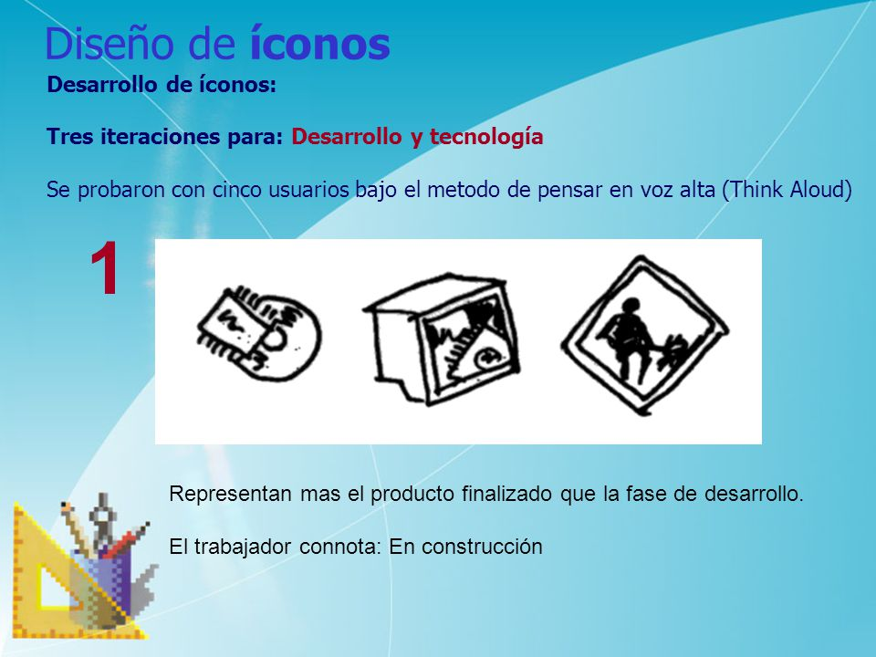 1 Diseño de íconos Desarrollo de íconos: