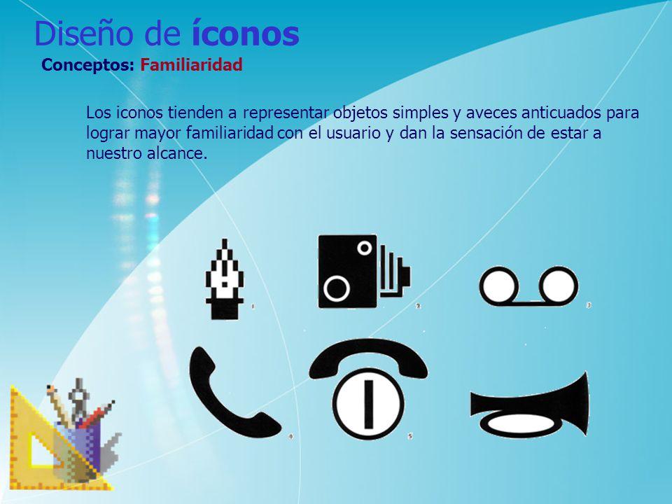 Diseño de íconos Conceptos: Familiaridad