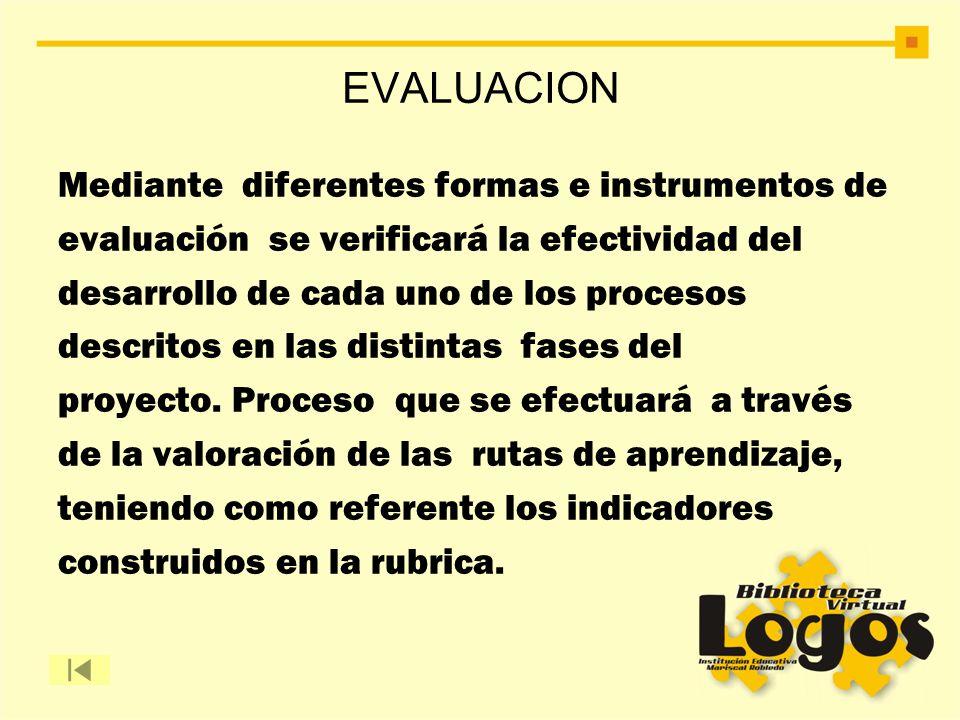 EVALUACION Mediante diferentes formas e instrumentos de