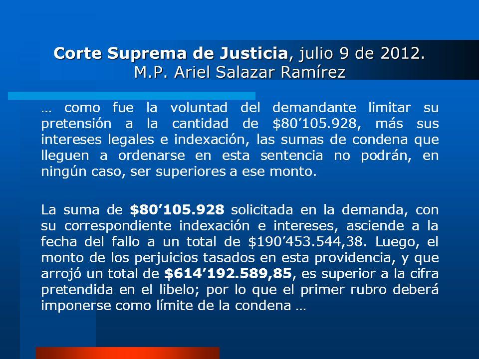 Corte Suprema de Justicia, julio 9 de 2012. M.P. Ariel Salazar Ramírez