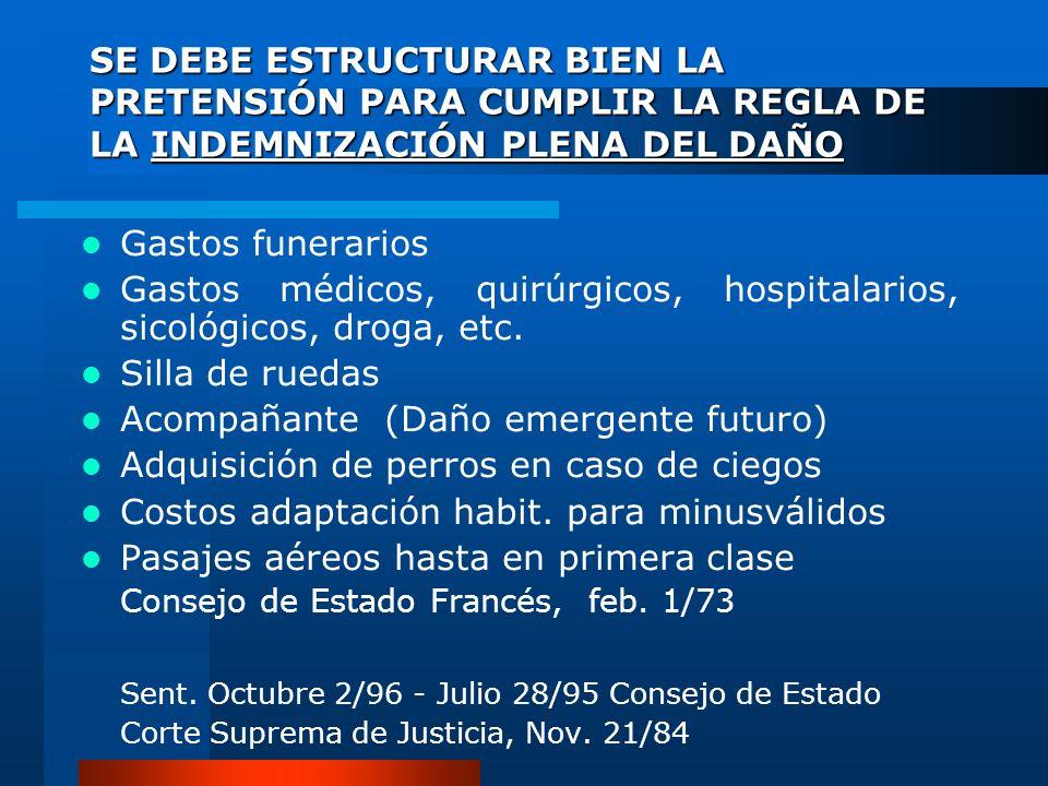 Gastos médicos, quirúrgicos, hospitalarios, sicológicos, droga, etc.