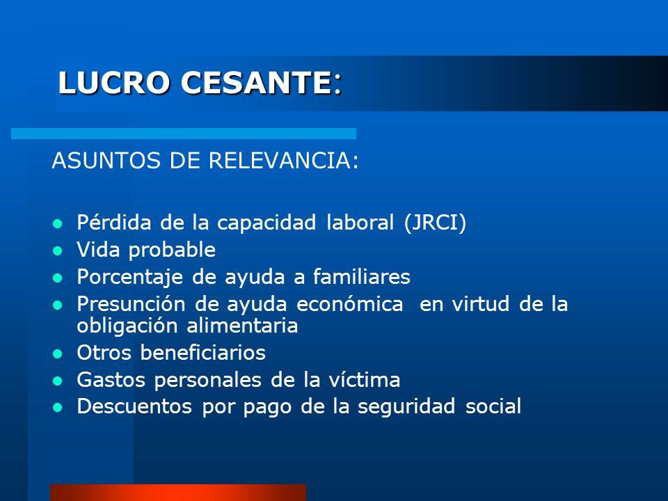 LUCRO CESANTE: ASUNTOS DE RELEVANCIA: