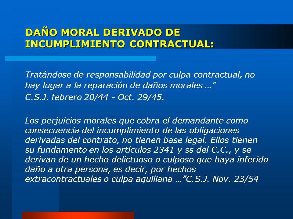 DAÑO MORAL DERIVADO DE INCUMPLIMIENTO CONTRACTUAL: