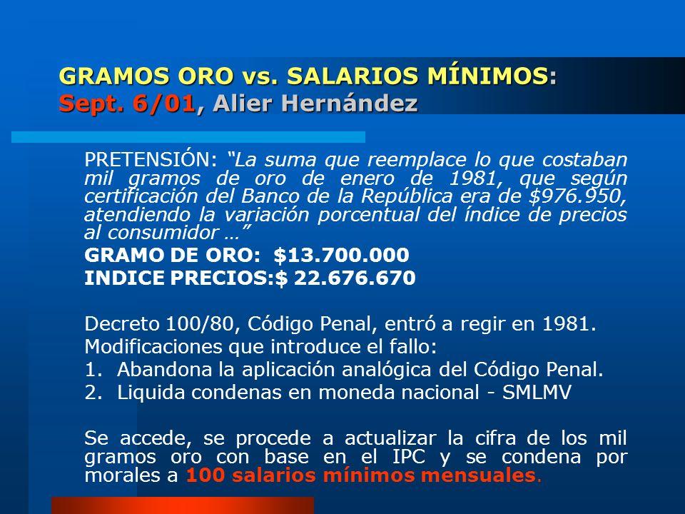 GRAMOS ORO vs. SALARIOS MÍNIMOS: Sept. 6/01, Alier Hernández