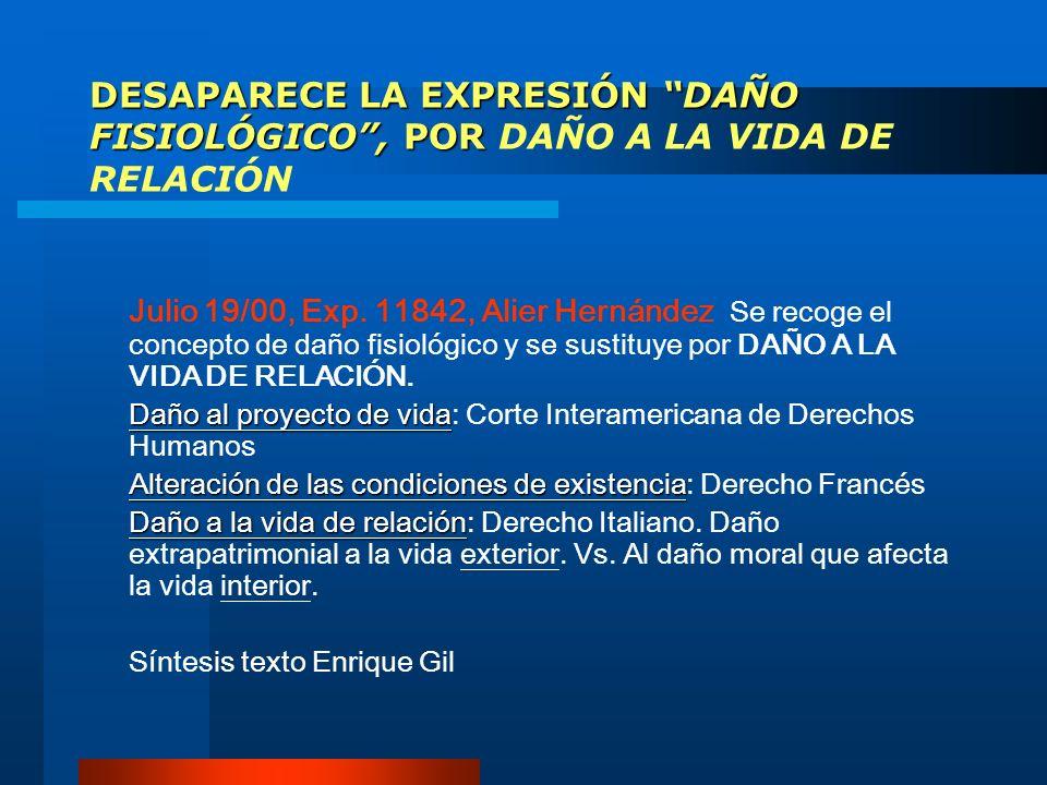 DESAPARECE LA EXPRESIÓN DAÑO FISIOLÓGICO , POR DAÑO A LA VIDA DE RELACIÓN