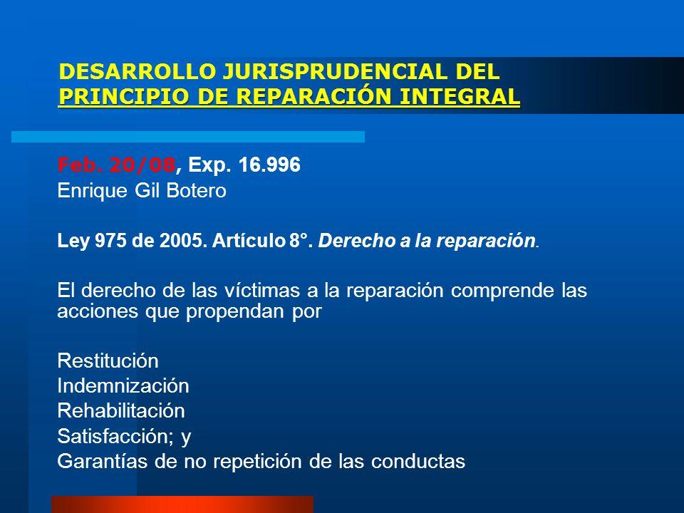 DESARROLLO JURISPRUDENCIAL DEL PRINCIPIO DE REPARACIÓN INTEGRAL