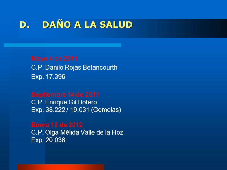 D. DAÑO A LA SALUD C.P. Danilo Rojas Betancourth Exp. 17.396