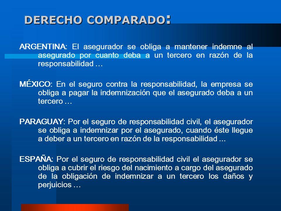 DERECHO COMPARADO:ARGENTINA: El asegurador se obliga a mantener indemne al asegurado por cuanto deba a un tercero en razón de la responsabilidad …