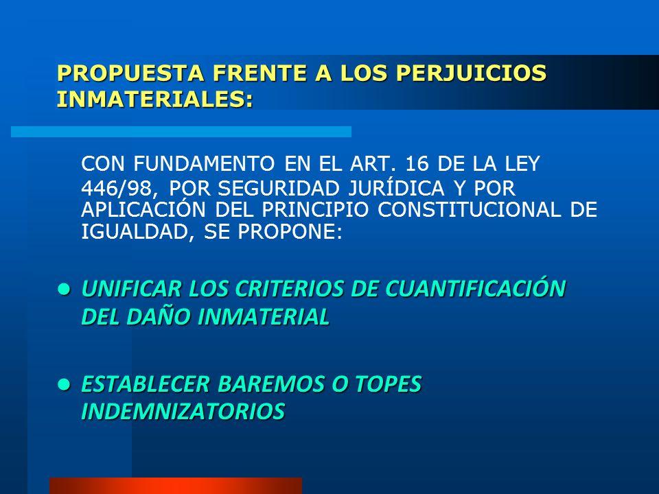 PROPUESTA FRENTE A LOS PERJUICIOS INMATERIALES: