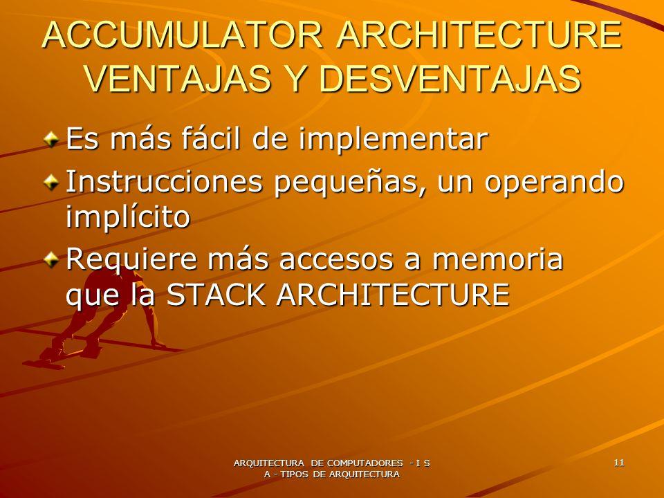 ACCUMULATOR ARCHITECTURE VENTAJAS Y DESVENTAJAS